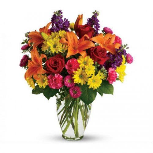 Bright Flower Bouquet in Vase